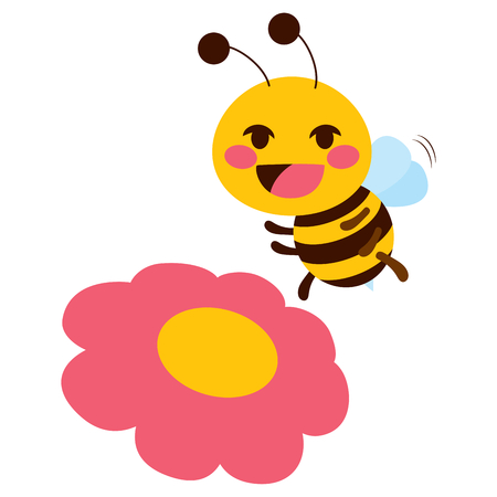 Flat color style illustration of cute little flying bee with pink flower Illustration