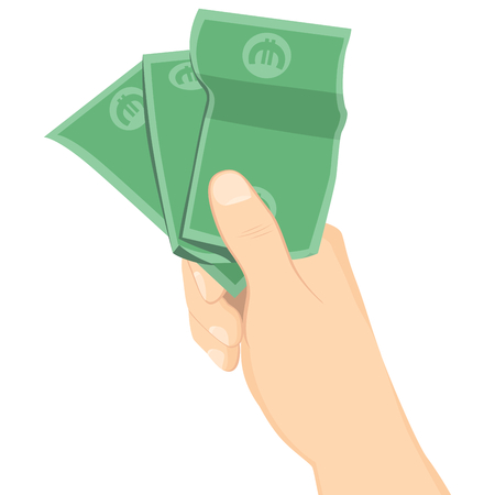 human finger: Close up illustration of male hand holding euro banknotes isolated on white background