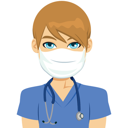 Young white male nurse wearing surgical antiviral mask