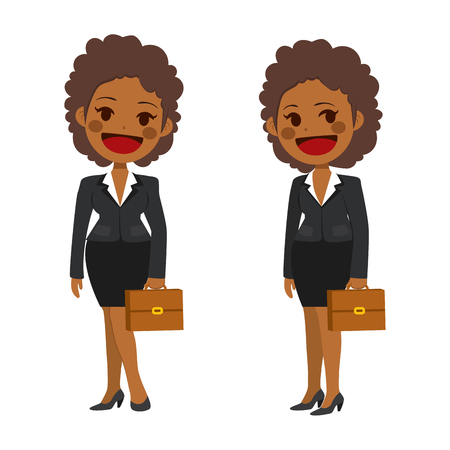 Young African American businesswoman front and side view wearing suit isolated on white background