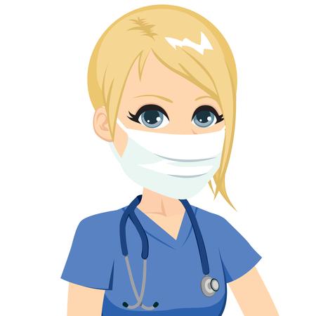 Joven rubia caucásica enfermera con máscara con el estetoscopio Ilustración de vector