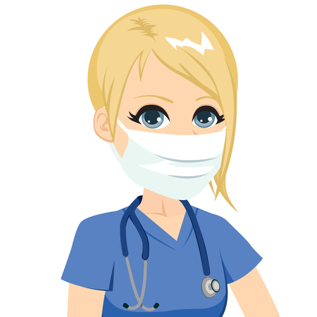 blonde females: Young blonde caucasian nurse wearing mask with stethoscope Illustration