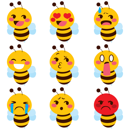 weep: Set of cute bee mascot emoji different face expressions Illustration