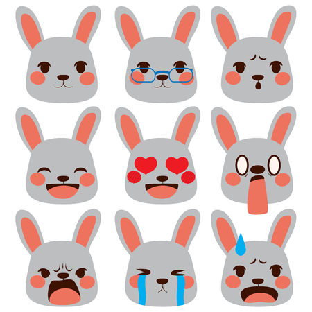 Set collection of different rabbit face emoji expressions