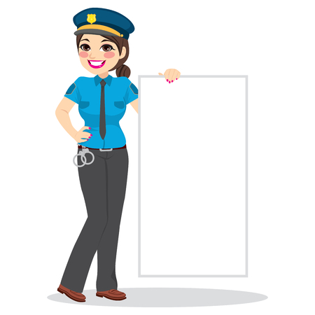 Brunette smiling police woman standing with uniform holding blank board
