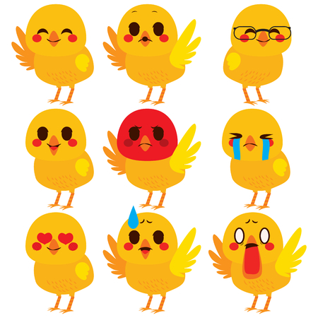 Set collection of cute different chick emoji expressions
