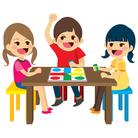 Three happy friends kids sitting playing board game