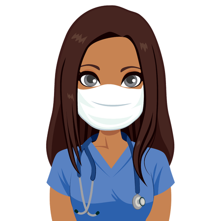 Young brunette African American female nurse wearing mask with stethoscope