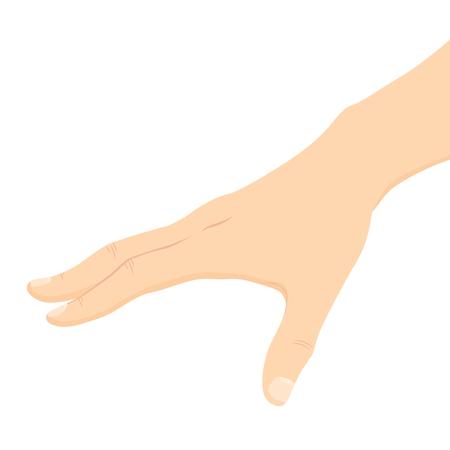 Sluit omhoog illustratie van Kaukasische mannelijke hand die voor iets bereikt dat op witte achtergrond wordt geïsoleerd