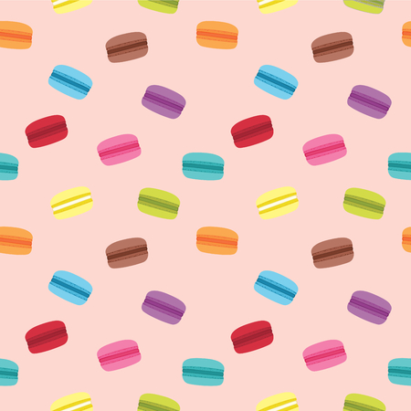 macaron: Cute seamless pattern of colorful and tasty macaron with pink background Illustration