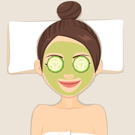 eyes are closed: Facial cucumber mask for woman beauty face skin treatment