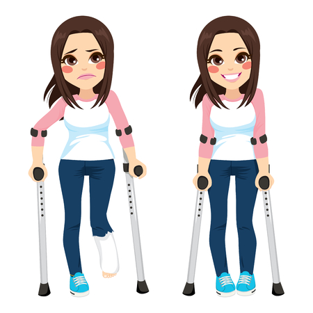 Girl with sad expression and broken leg walking with crutches then happy after recovery