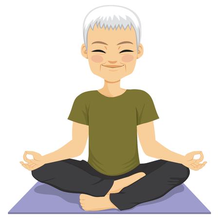 meditating: Cute meditating senior Man doing yoga healthy lifestyle concept