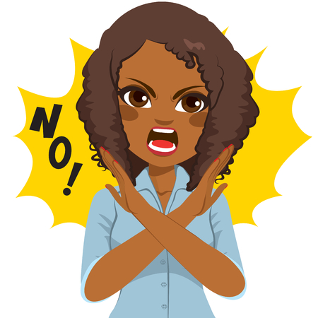 Young African American angry woman making crossed arms sign says no Illustration