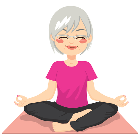 yoga meditation: Beautiful senior adult woman practicing yoga meditation on lotus posture