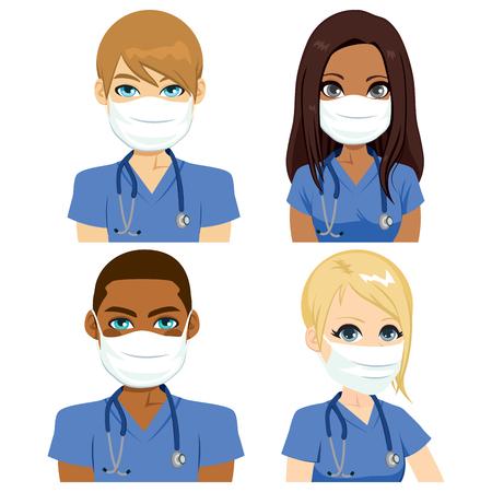 Gesundheit Krankenschwester Team Menschen mit Stethoskop chirurgische Maske tragen Vektorgrafik