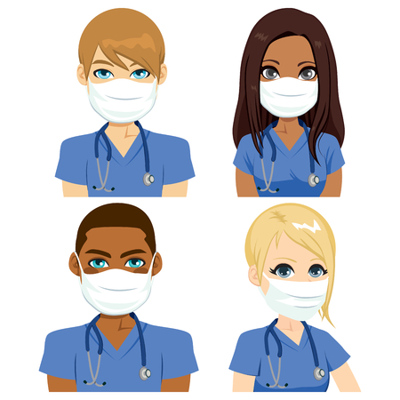 Health nurse team people wearing surgical mask with stethoscope