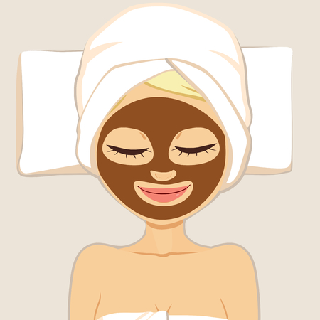 face treatment: Facial chocolate mask for woman beauty face skin treatment