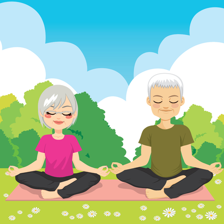 sports activity: Senior man and woman at park doing yoga exercise Illustration