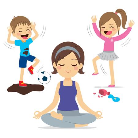 遊んでいる騒々しい子供たちと母親のリラックス ヨガ  イラスト・ベクター素材
