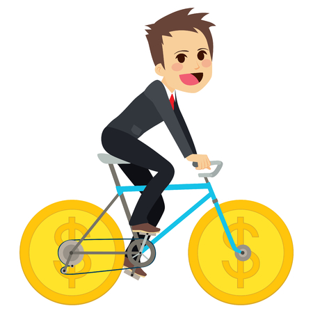 character cartoon: Businessman riding money coin wheel bicycle successful business concept