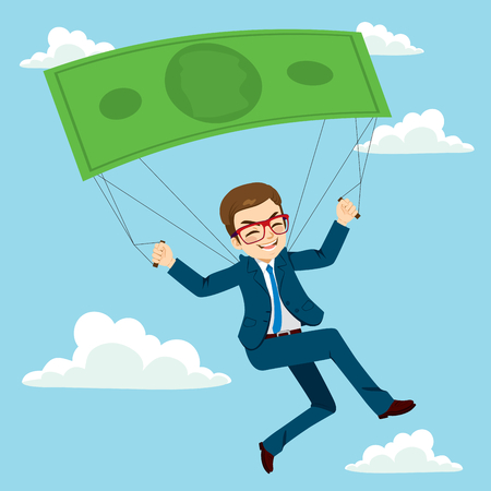 Happy businessman flying with banknote parachute success or safety concept