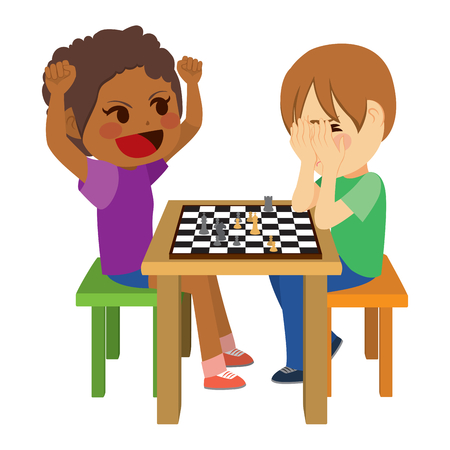 Two cute children playing chess with happy winning girl with arms up and sad boy losing covering face