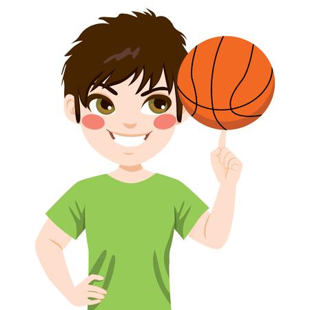 Spinnender Basketballball des Jungen mit dem Finger