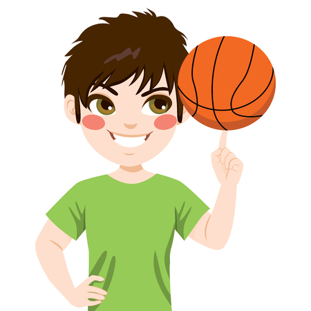 Young boy spinning basketball ball with finger Illustration
