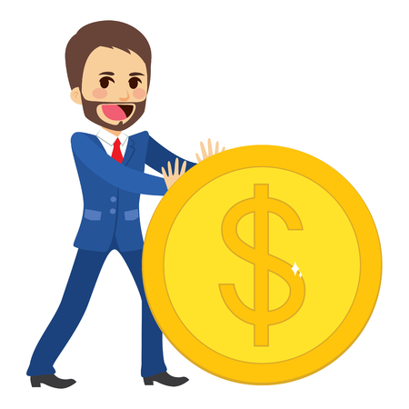 successful businessman: Happy young successful businessman pushing big golden coin Illustration