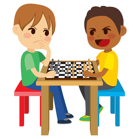 two child: Two cute kid friends sitting playing chess game board Illustration