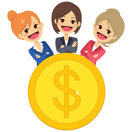 Group of successful empowered confident business women team behind big golden metal coin business concept Illustration