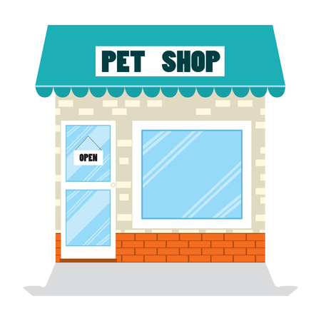 commercial sign: Illustration of pet shop building store business with open sign in door