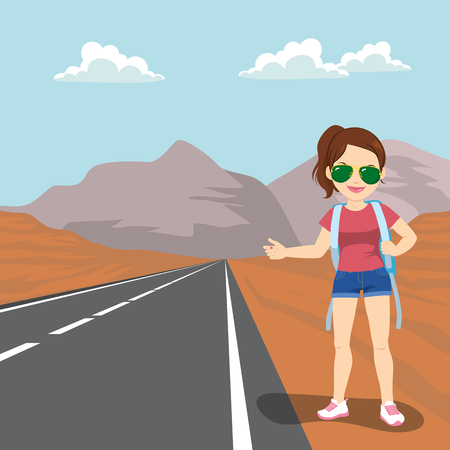 Beautiful young woman with backpack hitchhiking standing on road side Illustration