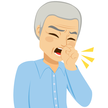 Illustration of senior man coughing with fist in front of mouth