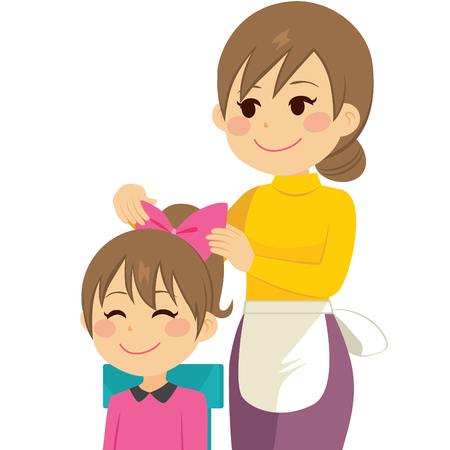 beauty girls: Happy young mother combing daughter hair with sweet face Illustration