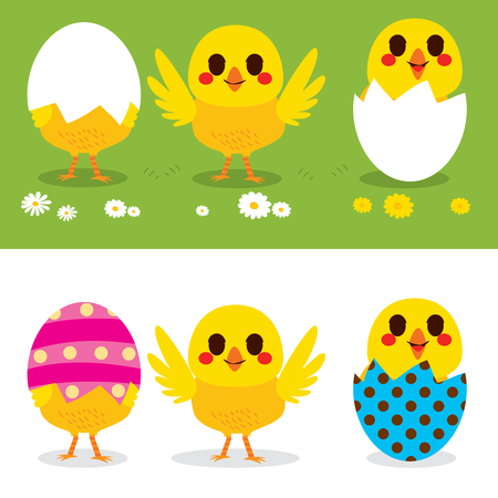 Happy Easter cute little chicks on colorful eggs
