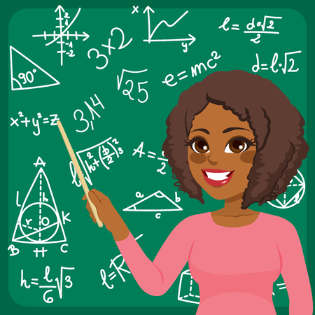 Beautiful young African American woman scientist teaching maths