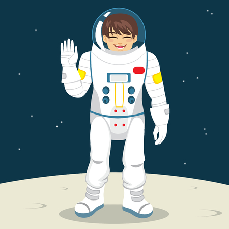 travel star: Young happy astronaut spaceman waving with hand on moon planet