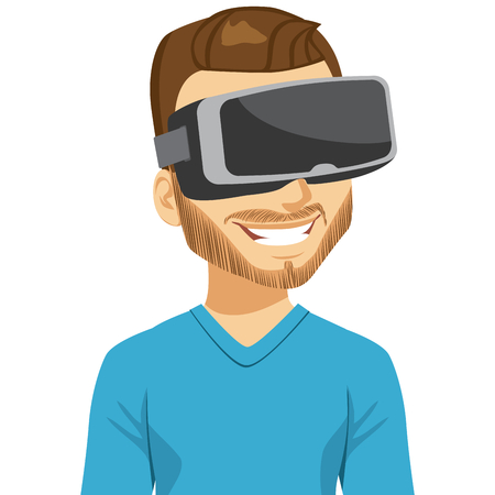 Man enjoying virtual reality headset playing video game Illustration