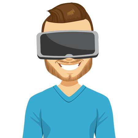 Mann trägt virtual-Reality-Headset mit immersive Erfahrung Vektorgrafik