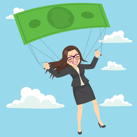 Happy businesswoman flying with banknote parachute success or safety concept