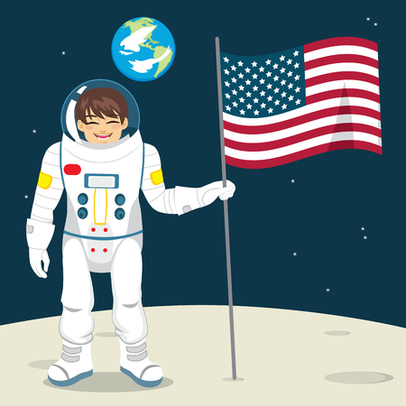 Happy astronaut with United States flag on Moon and Earth in space background