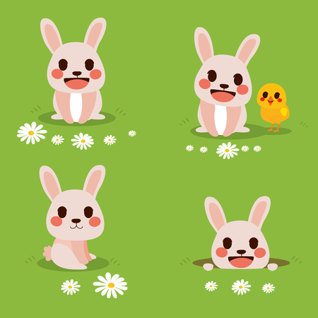 lapin: Cute funny illustration of bunny celebrating Easter day