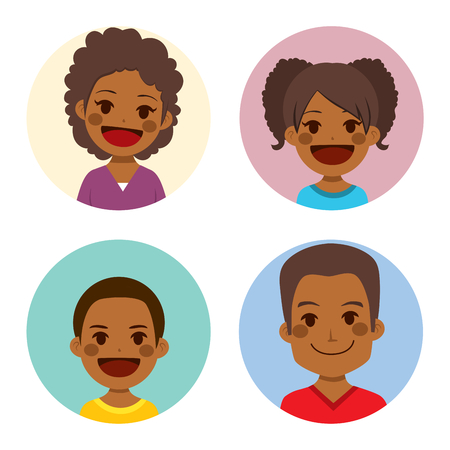four people: Happy African American family of four people face portrait together