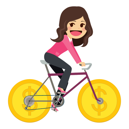 character cartoon: Businesswoman riding money coin wheel bicycle successful business concept Illustration