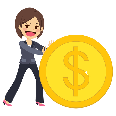 Happy young successful businesswoman pushing big golden coin