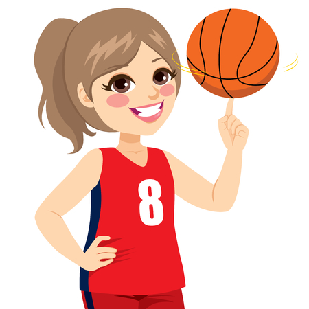 Active teenager girl spinning basketball with finger Vettoriali