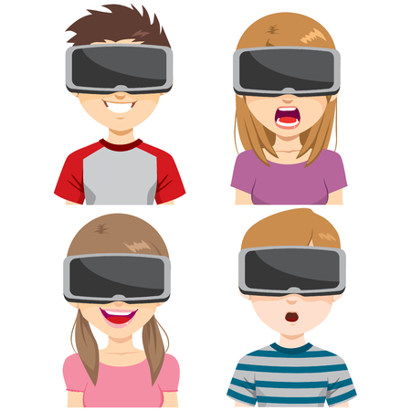 enjoying: Teenager boys and girls with Virtual Reality Headset on different expressions