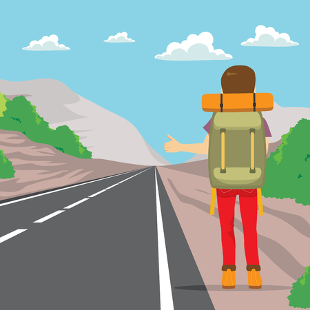 guy standing: Back view of man doing hitchhiking standing on road side